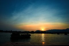 Peaceful Sunset over mountain in Kampot Cambodia stock image