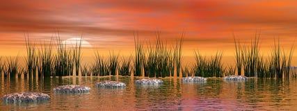 Peaceful sunset over nature Stock Photos