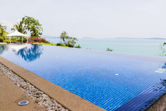 Peaceful swimming pool with sea view Royalty Free Stock Images