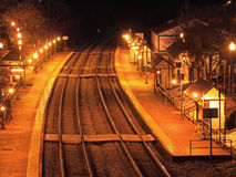 Old Train Station Night Scene Stock Photo