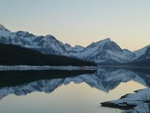 Many Glaciers mountain water reflection at its best ! Stock Photo