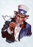 Peaceful Uncle Sam. Illustration of an old man releasing a dove Royalty Free Stock Photography