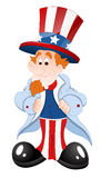 Peaceful Uncle Sam. Cartoon Adult Happy Peaceful Patriotic Uncle Sam Character Portrait Vector Illustration royalty free illustration