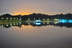 A peaceful Upper Seletar Reservoir by night Stock Photography