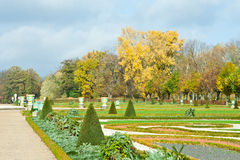 Peaceful view of autumn park with lawn in Berlin, Germany Royalty Free Stock Images