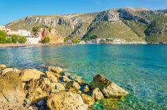 Peaceful view on cozy Greek sea bay, Greece Stock Photo