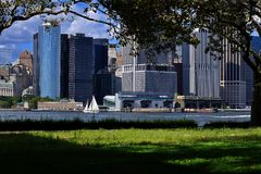 Peaceful View of NYC. Peaceful of NYC from Governor's Island - looking across to the southern tip of Manhattan Royalty Free Stock Images