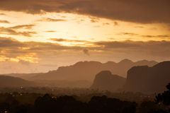 Peaceful view of Vinales valley at sunrise. Aerial View of the V Stock Images