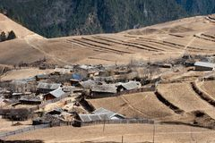 Peaceful village at Shangri La in china Royalty Free Stock Images