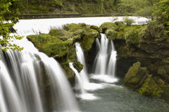Peaceful waterfall. Beautiful waterfall in  austria, europe, Traunfall Stock Photo