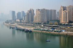 Peaceful Wharlf on Yangtze River Royalty Free Stock Image