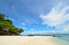 Peaceful white sand beach at Talu island Stock Image