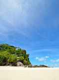 Peaceful white sand beach at Talu island Royalty Free Stock Photography