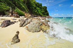Peaceful white sand beach at Talu island Stock Images