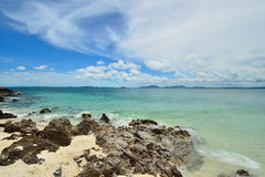 Peaceful white sand beach at Talu island Stock Photography