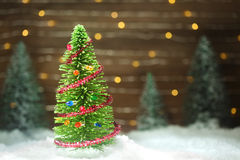 Peaceful winter scene. With Christmas tree Royalty Free Stock Photography