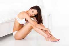 Peaceful woman bedroom floor Royalty Free Stock Image