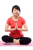 Peaceful woman doing yoga Stock Photos