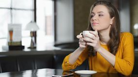 Peaceful woman enjoying coffee alone in restaurant, morning tradition, relax. Stock footage stock video