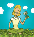 Peaceful woman enjoying nature and smelling a flower. Cartoon illustration of relaxed woman enjoying nature and holding a flower Stock Images