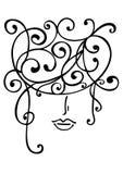 Peaceful woman face with wavy hair Stock Photos