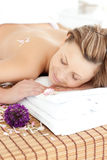 Peaceful woman having a Spa treatment. In a health club Stock Images