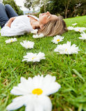 Peaceful woman outdoors Stock Photo