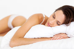 Peaceful woman sleeping Royalty Free Stock Photos