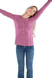 Peaceful woman stretching her arms Royalty Free Stock Photos