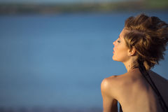 Peaceful. A woman taking a peaceful moment Royalty Free Stock Photo