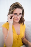 Peaceful woman wearing glasses Stock Photo