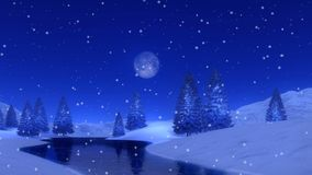 Fir forest and frozen lake at snowy winter night 4K. Peaceful woodland scenery with snowy fir forest on a frozen lake shore at snowfall winter night with a full stock video footage