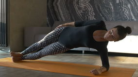 Peaceful yoga. Happy and beautiful woman doing exercise of yoga at home. stock video footage