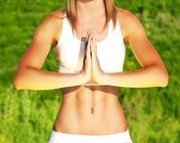 Peaceful yoga outdoor Royalty Free Stock Photos