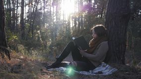 Peaceful young caucasian female traveler in cozy clothes sitting in fall forest and reading book at sunrise. Attractive happy woma. N reading book in autumn park stock video