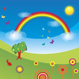 Peacefull rainbow. Sunny illustration with rainbow over a field with flowers Stock Photography