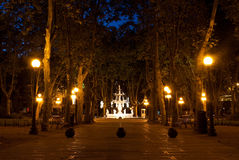 Peacefull walkway. A plaza in Montevideo Uruguay Royalty Free Stock Photo