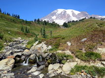 Peacefull waterfall at Skyline trail in Mount Rainier National Park Royalty Free Stock Image
