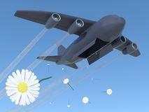 Peacemaker. Gray bomber on the sky drops white flowers royalty free illustration