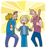 Peacemaker woman. Cartoon illustration of peacemaker woman and two angry men wants to fight vector illustration
