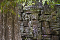 Peaces of carved stones in Angkor Wat Stock Images