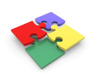 Peaces colorés de puzzle Images libres de droits