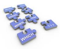 peaces del rompecabezas de la palabra de la pregunta 3d Imagen de archivo
