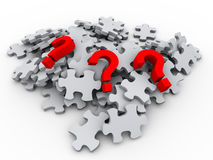 peaces e ponto de interrogação do enigma 3d Imagens de Stock Royalty Free