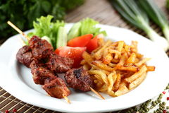 Peaces of meat with garnish. Hot and tasty peaces of meat with garnish Royalty Free Stock Photos