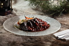Peaces of meat with garnish Stock Photo