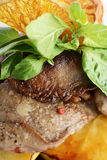 Peaces of meat with garnish Royalty Free Stock Image