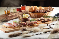 Peaces of meat with garnish Royalty Free Stock Photography