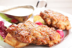 Peaces of meat with garnish Stock Images