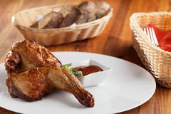 Peaces of meat with garnish Royalty Free Stock Images